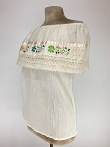 Off the shoulder traditional Mexican embroidered top - natural off white