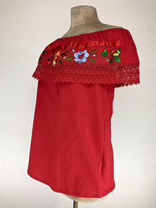 Off the shoulder traditional Mexican embroidered top - red