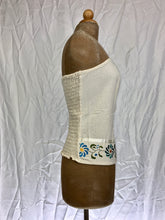 Floral embroidery strapless corset top in off white