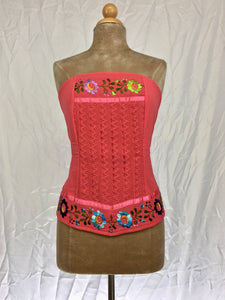 Strapless corset tube top in coral pink