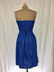 Sweetheart neckline strapless short dress in electric blue