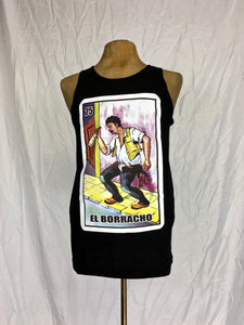 el borracho loteria silk screen print muscle shirt east los outfitters
