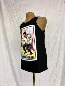 El borracho loteria silk screen print muscle shirt
