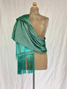 Traditional Santa Maria style fancy silk rebozo in mint