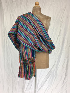 Manta Inca rebozo shawl baby sling in turquoise blue