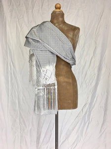 Traditional Santa Maria style fancy silk rebozo in silver