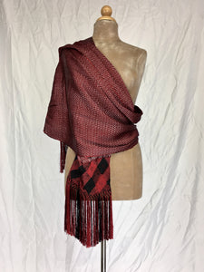 Traditional Santa Maria style fancy silk rebozo in red