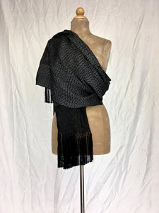 Traditional Santa Maria style fancy silk rebozo in black