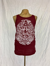 Tonatiuh aztec calendar silk screen print muscle shirt in burgundy