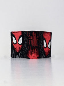 Spider man mask and large spider print handcrafted billfold wallet
