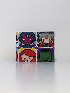 Tokidoki inspired marvel universe the avengers print handcrafted billfold wallet