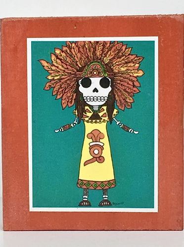 Xochitl aztec dancer collectible art tile by Ninoska Arte