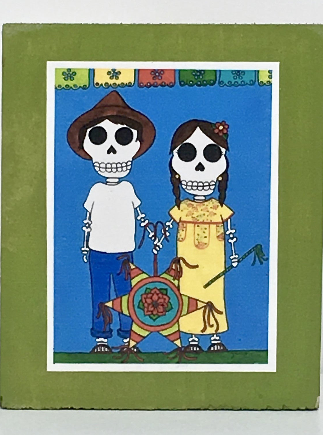 Piñata couple collectible art tile by Ninoska Arte
