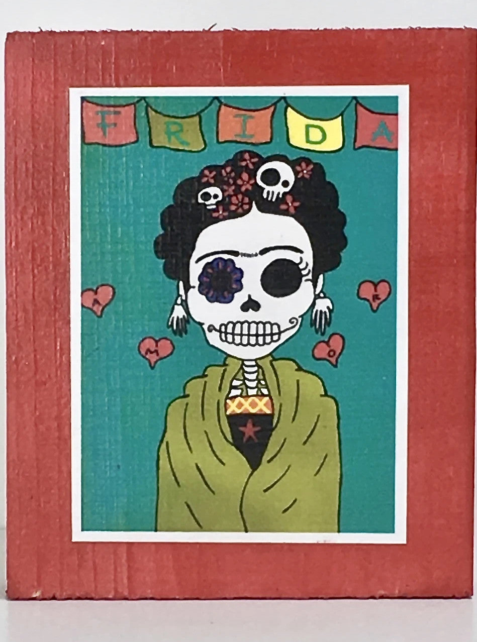 Lovely Frida collectible art tile by Ninoska Arte