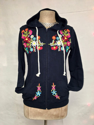 Embroidered hoodie navy blue size small/medium