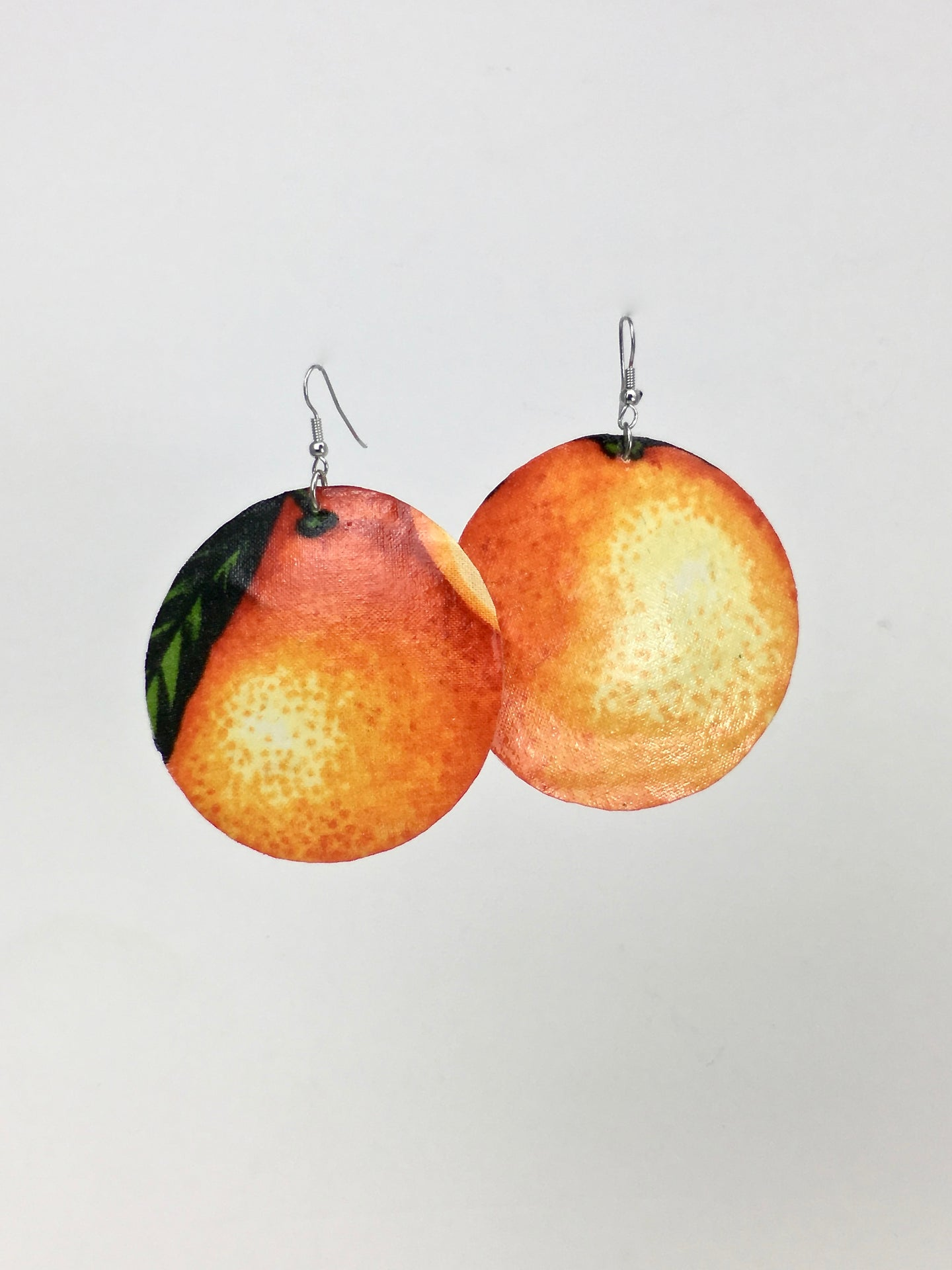 Large shell handcrafted dangle earrings Naranja Dulce print