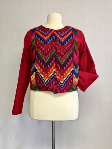 Up cycled guatemala huipil handcrafted short jacket round neck in red geometric pattern 1