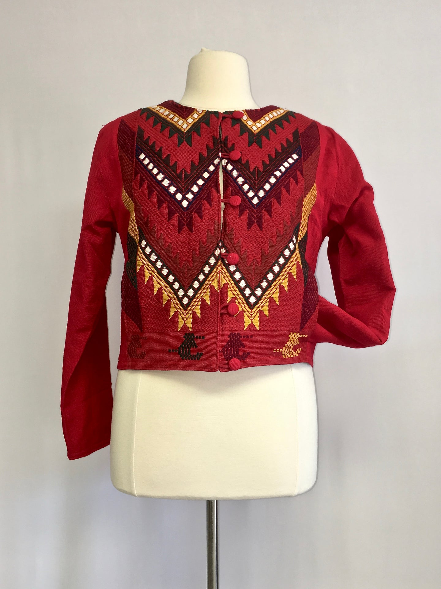 Up cycled guatemala huipil handcrafted short jacket round neck in red geometric pattern 2