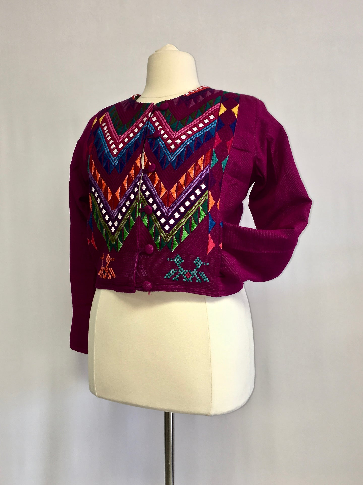 Up cycled guatemala huipil handcrafted short jacket round neck in purple geometric pattern
