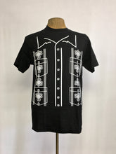 Guayabera shirt inspired print white on black crew neck tee