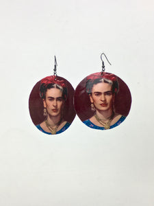 Large shell handcrafted dangle earrings Frida print burgundy