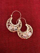 Basket hoop arracada earrings 1 traditional Butterfly design in 14K tricolor gold