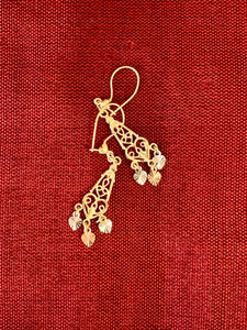 Traditional Mexican chandelier filigree earring in 14 tricolor gold size 1