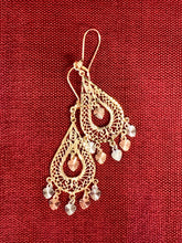 Fancy teardrop chandelier dangle earring in tricolor 14k gold