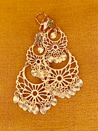 Floral design chandelier style dangle earrings in 14k yellow gold plating