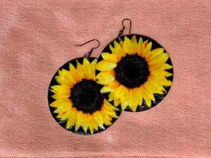 Large shell handcrafted dangle earrings Sunflower print bright yellow