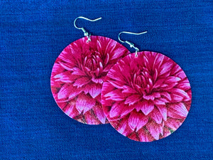 Large shell handcrafted dangle earrings Dahlia print pink