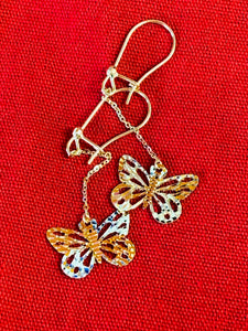 Diamond cut dangling butterfly earring in 14K yellow gold