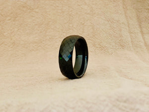 Checker cut mirror finish black tungsten band TR180 8mm