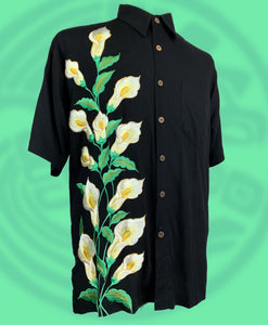 Calla lily embroidered button down short sleeve shirt
