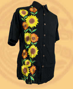 Sunflowers embroidered button down short sleeve shirt
