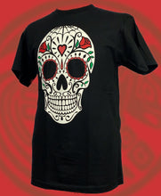 Dia de Muertos inspired large skull with hearts unisex standard crewneck black t-shirt
