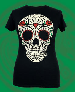 Dia de Muertos inspired large skull with hearts  blouse style crewneck black t-shirt