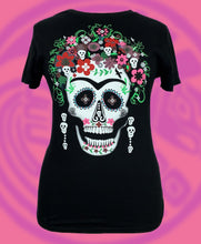 Day of the dead inspired colorful floral skull blouse style crewneck black t-shirt