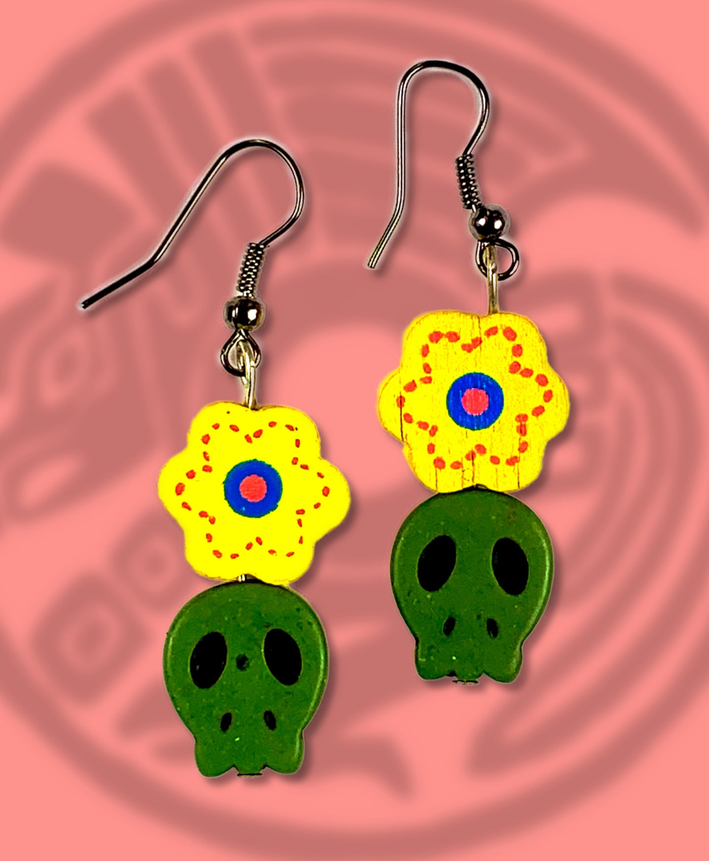 Dia de muertos flat sugar skull and flower dangle earring green with yellow flower
