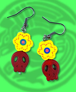 Dia de muertos flat sugar skull and flower dangle earring red with yellow flower