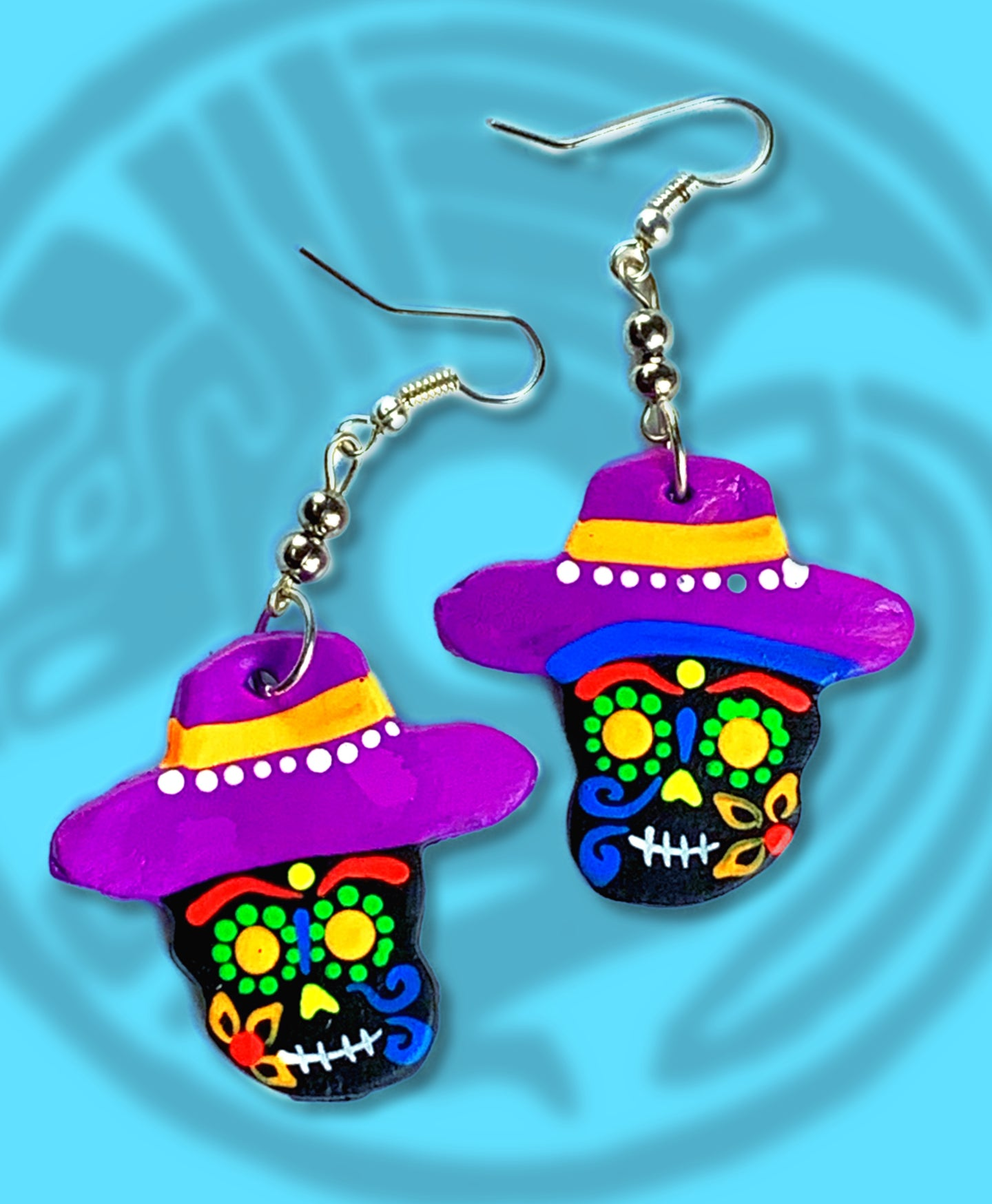 Dia de muertos Catrina sombrero dangle earrings