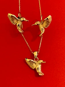 Hummingbird drop earrings and pendant set in 14kt yellow gold