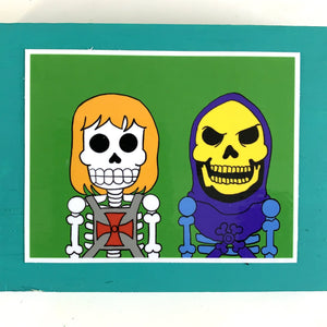 Frienemies He-Man and Skeletor collectible art tile by Ninoska Arte