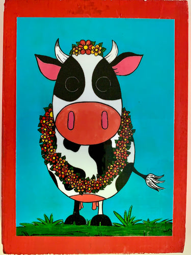 Barnyard Animals Cow collectible art tile by  Ninoska Arte