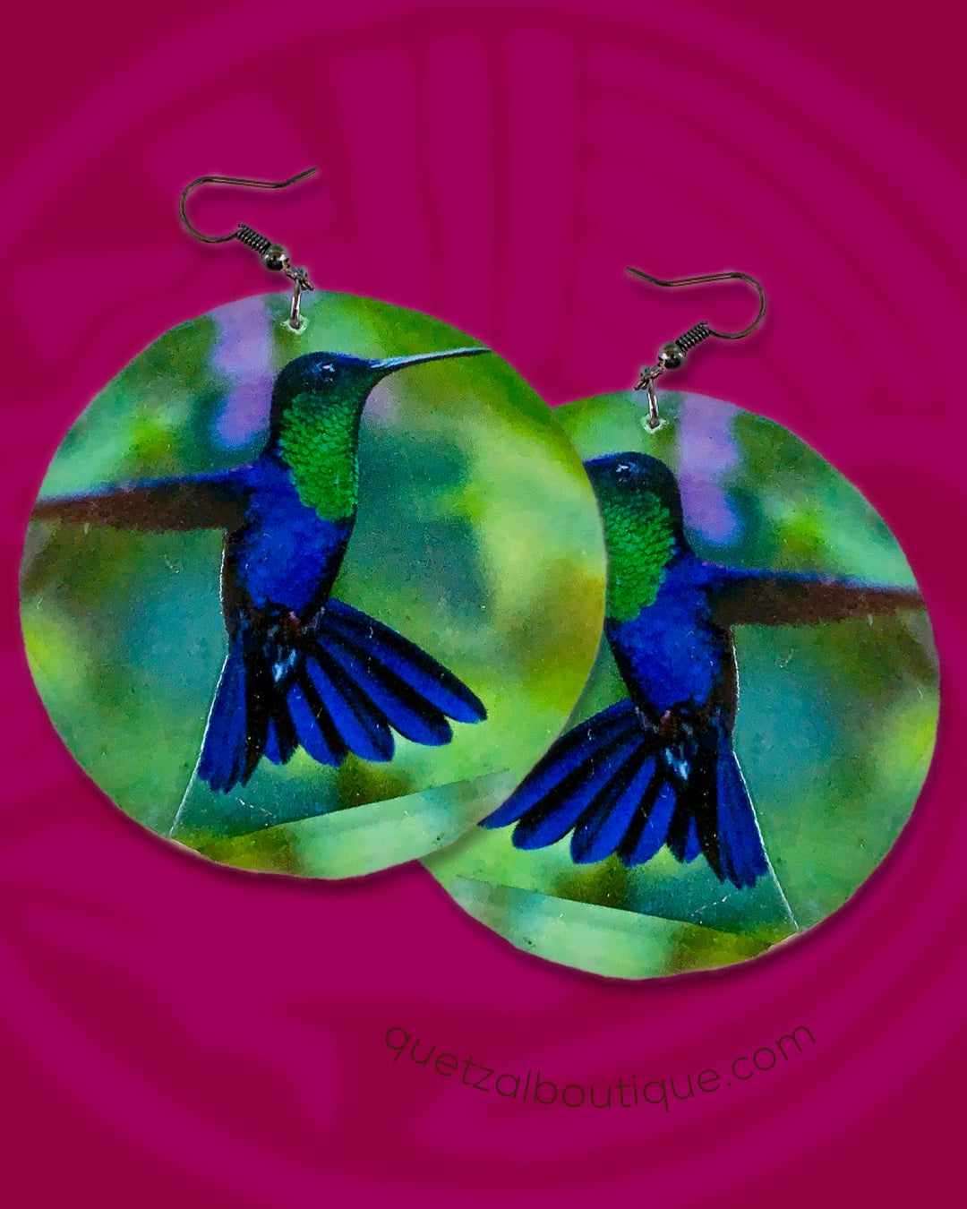 Large shell handcrafted dangle earrings blue green colibri print
