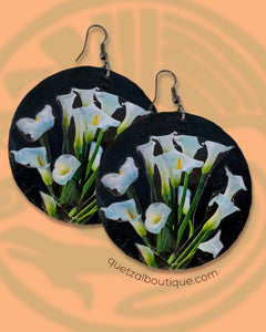 Large shell handcrafted dangle earrings Calla lily bouquet print