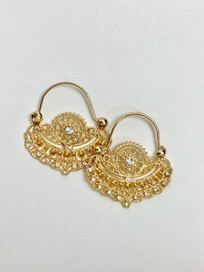 Stylized Basket hoop earring in 14k yellow gold plating white CZ