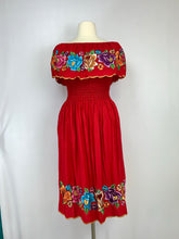 Red flounce off the shoulder Maxi dress multicolor embroidery