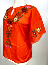 Plus size handmade traditional Mexican Blouse orange