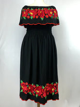 Black maxi dress in black with Floral Embroidery Tehuana inspired